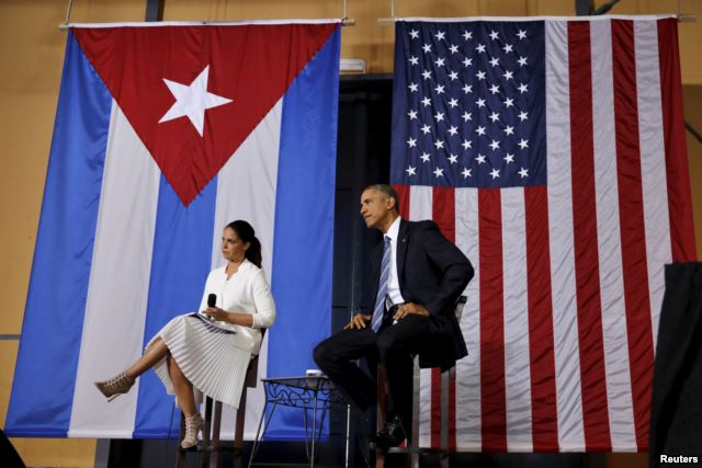 President Obama with American journalist Soledad O'Brien attends a meeting with entrepreneurs as part of his three-day visit to Cuba, in Havana, March 21, 2016.