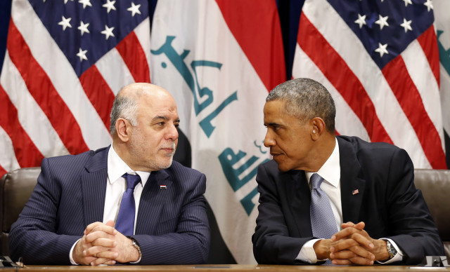 President Barack Obama meets with Iraqi Prime Minister Haider al-Abadi during the United Nations General Assembly in New York September 24, 2014. (Reuters)