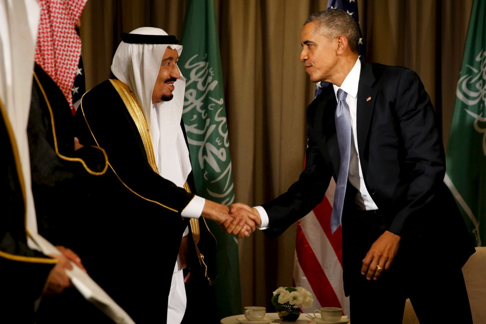 President Barack Obama shakes hands with Saudi Arabia's King Salman after their meeting alongside the G20 summit  in Turkey on Nov. 15, 2015. (Reuters)
