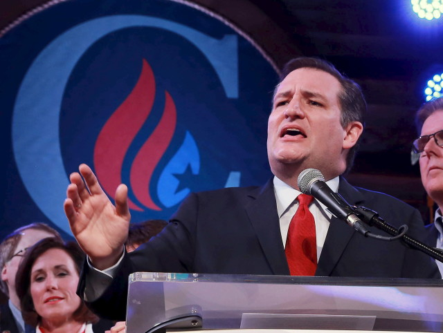 Republican U.S. presidential candidate Senator Ted Cruz reacts to the Super Tuesday primary and caucus voting results at a campaign rally in Houston, Texas March 1, 2016. (Reuters)