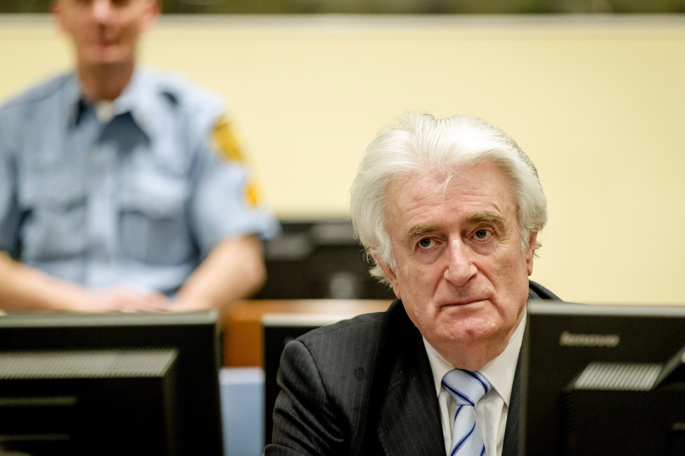 Ex-Bosnian Serb leader Radovan Karadzic is convicted of genocide and crimes against humanity at the International Criminal Tribunal for former Yugoslavia in the Hague on March 24, 2016. (Reuters)
