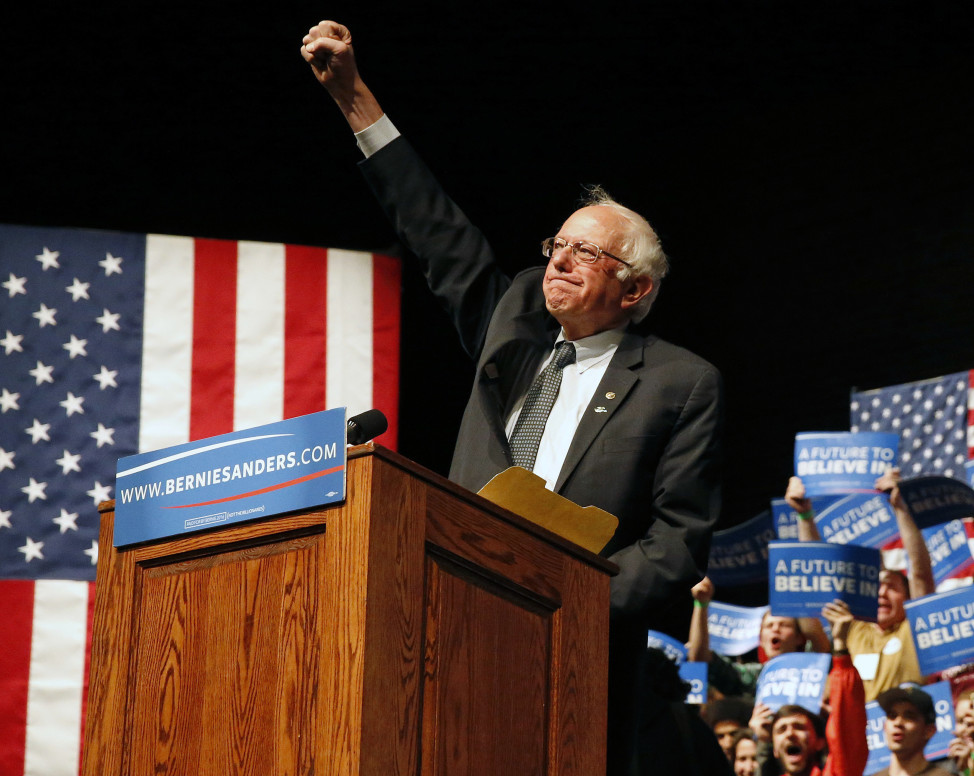 Democratic presidential candidate Sen. Bernie Sanders, I-Vt. rallies supporters in Laramie, Wyo. on April 6, 2016 a day after defeating Democratic frontrunner Hillary Clinton in the Wisconsin primary. (AP)