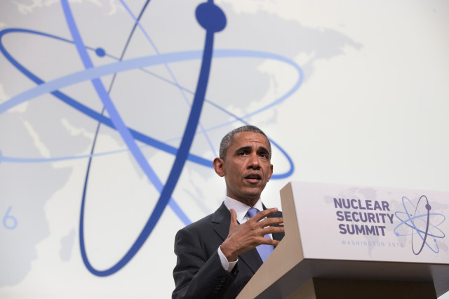 President Barack Obama speaks during a news conference at the conclusion of the Nuclear Security Summit in Washington April 1, 2016. (AP)