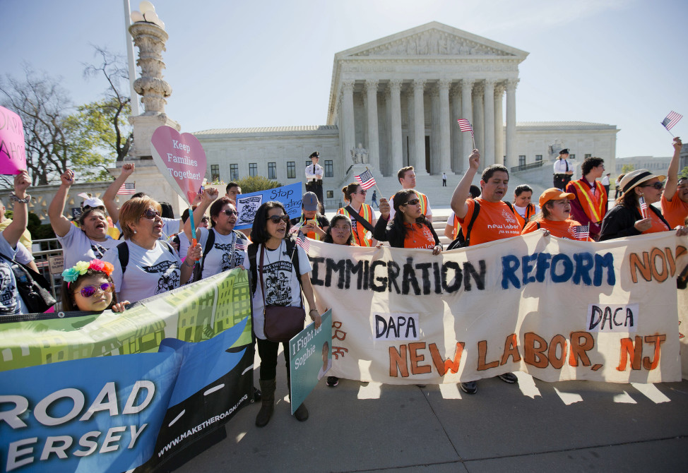 Supporters of fair immigration reform gather in front of the Supreme Court in Washington on April 18, 2016. (AP)