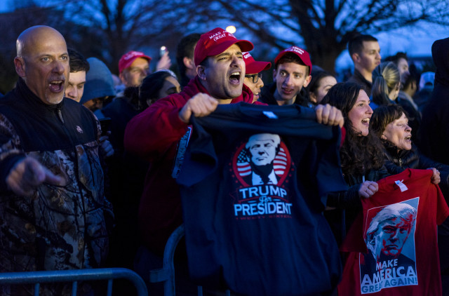 Donald Trump supporters gather during a campaign appearance by Republican presidential candidate Donald Trump in Bethpage, New York on  April 6, 2016. (AP)