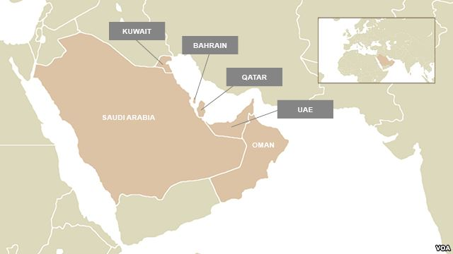 The nations of the Gulf Cooperation Council: Saudi Arabia, Oman, Kuwait, Bahrain, Qatar & United Arab Emirates