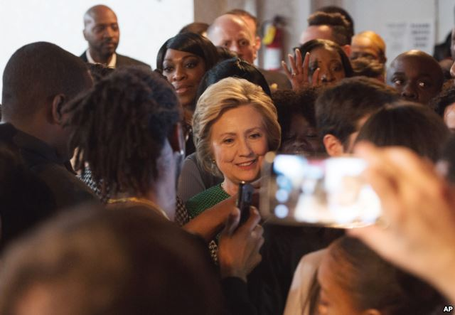 Democratic presidential candidate Hillary Clinton exits after speaking at New Greater Bethel Ministries during a campaign stop,in New York, April 10, 2016.