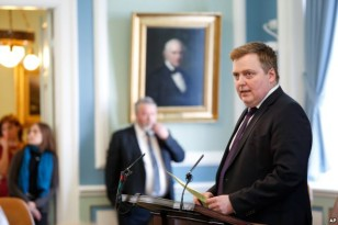 Iceland's Prime Minister Sigmundur David Gunnlaugsson speaks during a parliamentary session in Reykjavik, April 4, 2016.