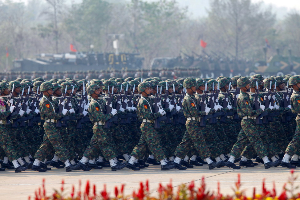 Soldiers parade to mark the 70th anniversary of Armed Forces Day in the Burmese capital Naypyitaw on March 27, 2015. (Reuters)