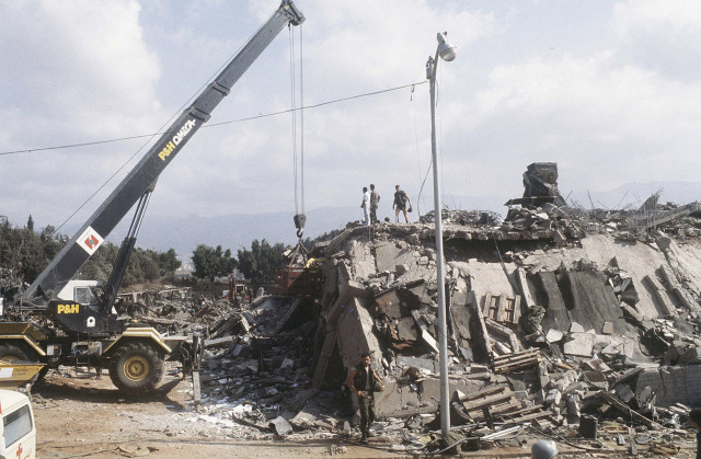 A crane is brought in after the explosion of the Marine Corps building in Beirut, Lebanon October 23, 1983. The U.S. Supreme Court on Wednesday ruled that almost $2 billion in frozen Iranian assets must be turned over to American families of people killed in the 1983 bombing of a U.S. Marine Corps barracks in Beirut and other attacks blamed on Iran.  (Reuters)