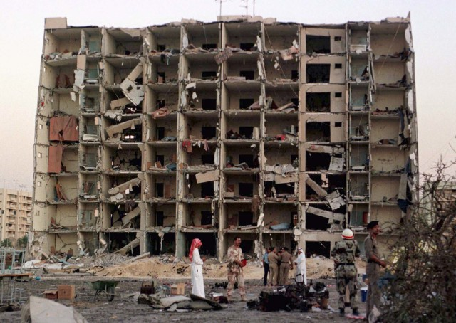 Khobar Towers, which  housed U.S. military personnel, was destroyed when a fuel truck containing a bomb exploded outside the building on June 25, 1996. 19 U.S. servicemen were killed, several hundred injured.  The U.S. Supreme Court on Wednesday ruled that almost $2 billion in frozen Iranian assets must be turned over to American families of people killed in the 1983 bombing of a U.S. Marine Corps barracks in Beirut and other attacks blamed on Iran., including Khobar Towers. (Reuters)