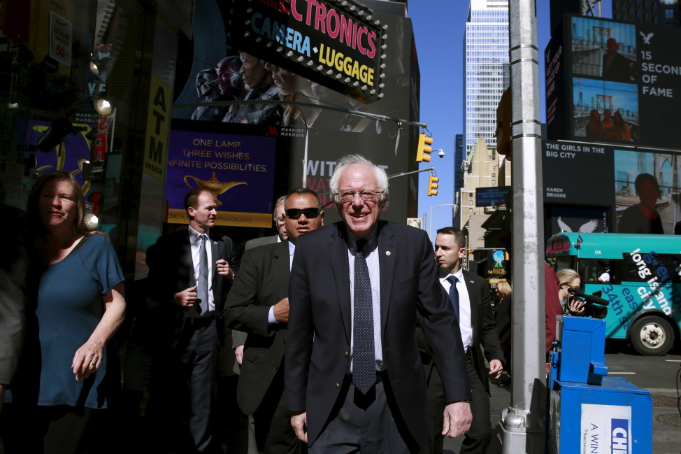 Democratic presidential candidate Bernie Sanders greets pedestrians in Times Square in Manhattan, New York on April 19, 2016.  (Reuters)