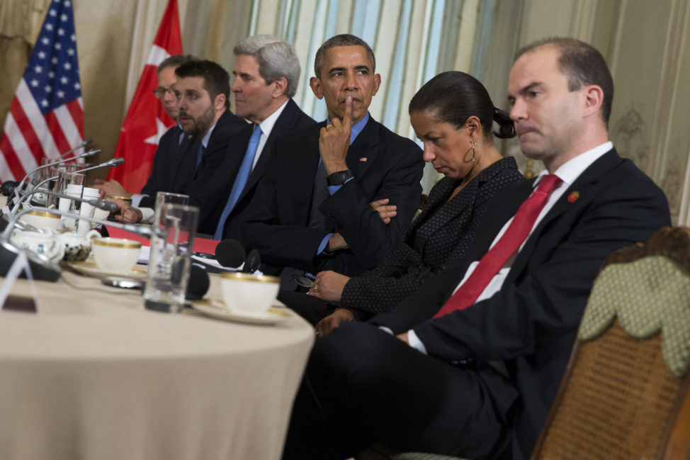 President Barack Obama, third from right, listens during a bilateral meeting with Turkish President Recep Tayyip Erdogan, in Paris, on Tuesday, Dec. 1, 2015. The leaders discussed the continuing crisis in Syria, and the fight against the Islamic State group. From left, Charles Kupchan, Senior Director for European Affairs, Brian Deese, Senior Advisor, Secretary of State John Kerry, Obama, Susan Rice, National Security Advisor, and Ben Rhodes, Deputy National Security Advisor. (AP)