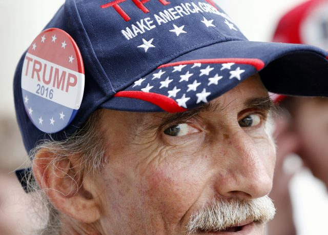 Tom Biroscak of Milford, Conn., waits in line prior to a rally for Republican presidential candidate Donald Trump in Bridgeport, Conn., Saturday, April 23, 2016. (AP)