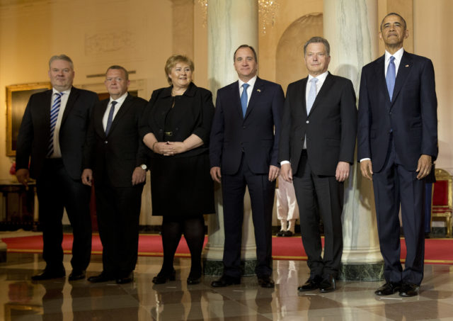 President Obama welcomes leaders from five Nordic nations to the White House for a summit. From left, Iceland Prime Minister Sigurdur Ingi Johannsson, Danish Prime Minister Lars Lokke Rasmussen, Norwegian Prime Minister Erna Solberg, Swedish Prime Minister Stefan Lofven, Finnish President Sauli Niinisto, and President Barack Obama. Friday, May 13, 2016. (AP)