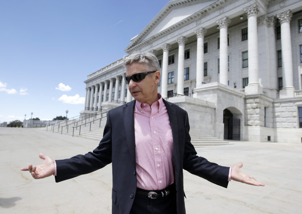 Libertarian candidate and former New Mexico Gov. Gary Johnson leaves the Utah State Capitol after meeting with with legislators Wednesday, May 18, 2016, in Salt Lake City. Seizing new fuel for his appeal to Donald Trump's critics, Johnson has joined forces with another former Republican governor to strengthen his Libertarian presidential bid. William Weld, who served two terms as the Republican governor of Massachusetts in the 1990s, will announce plans Thursday to seek the Libertarian Party's vice presidential nomination, Johnson confirmed in a Wednesday interview with the Associated Press. (AP)