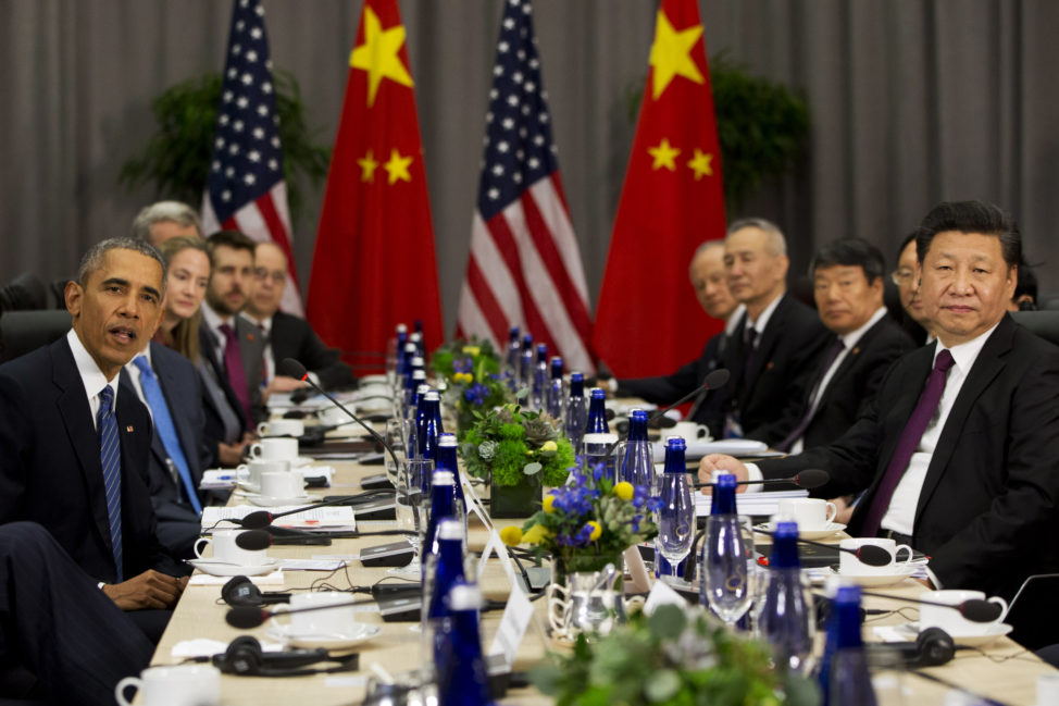 President Barack Obama speaks as he meets with Chinese President Xi Jinping during the Nuclear Security Summit in Washington, Thursday, March 31, 2016. (AP)