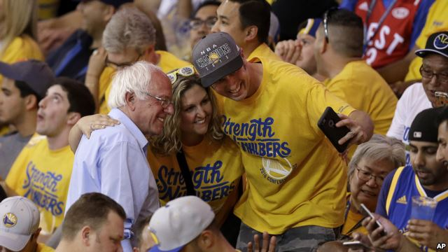 Bernie with Warriors fans