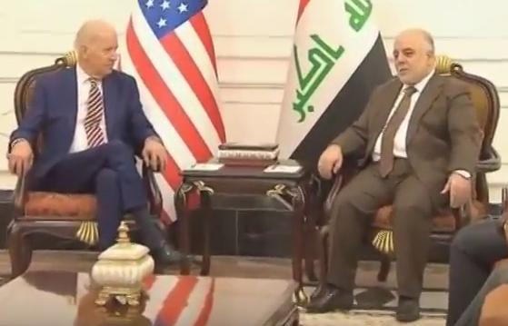 U.S. Vice President Joe Biden meets with Iraqi Prime Minister Haider al-Abadi in Baghdad, April 28, 2016 (Reuters via video screengrab)