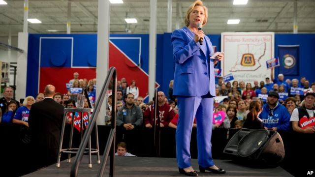 Democratic presidential candidate Hillary Clinton speaks at the Union of Carpenters and Millwrights Training Center during a campaign stop in Louisville, Ky., Sunday, May 15, 2016.