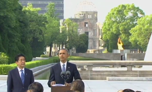 U.S. President Barack Obama and Japanese Prime Minister Shinzo Abe deliver comments at the Hiroshima Peace Park May 27, 2016. Obama is the first U.S. president to visit Hiroshima or Nagasaki since an atomic bomb was dropped on those cities in August 1945. (TV pool screen grab)