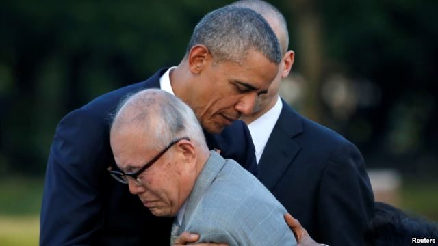 Obama with Hiroshima survivor