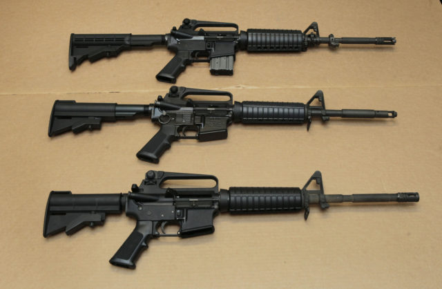 FILE -- In this Aug. 15, 2012 file photo, three variations of the AR-15 assault rifle are displayed at the California Department of Justice in Sacramento, Calif. While the guns look similar, the bottom version is illegal in California because of its quick reload capabilities. Omar Mateen used an AR-15 that he purchased legally when he killed 49 people in an Orlando nightclub over the weekend President Barack Obama and other gun control advocates have repeatedly called for reinstating a federal ban on semi-automatic assault weapons that expired in 2004, but have been thwarted by Republicans in Congress. (AP)