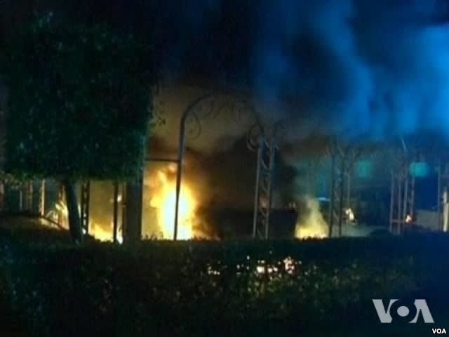 The U.S. Consulate in Benghazi, Libya burns during a September 2012 attack that killed the U.S. Ambassador and three others.