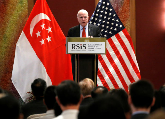 U.S. Senator John McCain gives a public lecture on the sidelines of the IISS Shangri-La Dialogue in Singapore June 3, 2016. (Reuters)