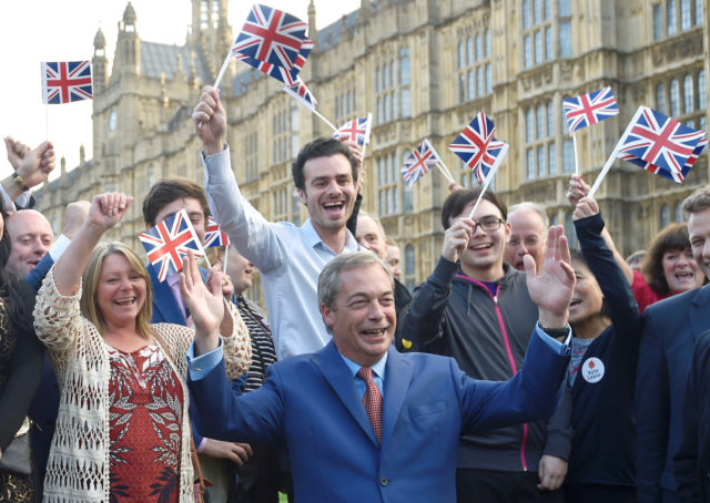 Nigel Farage, the leader of the United Kingdom Independence Party (UKIP), makes a statement after Britain voted to leave the European Union in London, Britain, June 24, 2016.  (Reuters)