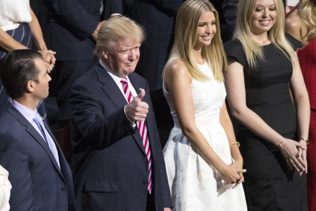 Republican presidential candidate Donald Trump arrives at the Republican National Convention, Wednesday, July 20, 2016, in Cleveland. With him are his his Don, left, daughter Ivanka and daughter Tiffany, right. (AP)