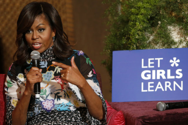 """U.Sfirst lady Michelle Obama speaks during a conversation with teenage girls in Marrakech, Morocco, Tuesday, June 28, 2016. U.S. First Lady Michelle Obama was visiting Morocco to promote for the """"Let Girls Learn"""" in the North African kingdom, where only 36 percent of girls continue school beyond the primary level. (AP)"""