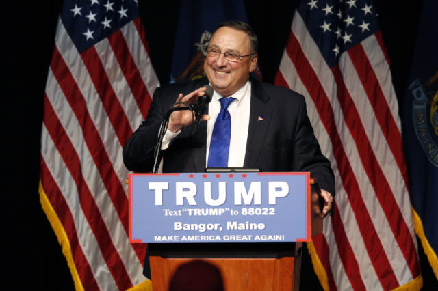 Maine Gov. Paul LePage speaks at a rally for Republican presidential candidate Donald Trump, Wednesday, June 29, 2016, in Bangor, Maine.(AP)