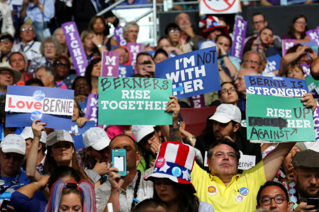 Not all Bernie Sanders supporters stood with Hillary Clinton at the Democratic National Convention in Philadelphia July 25, 2016 (A. Shaker/VOA)