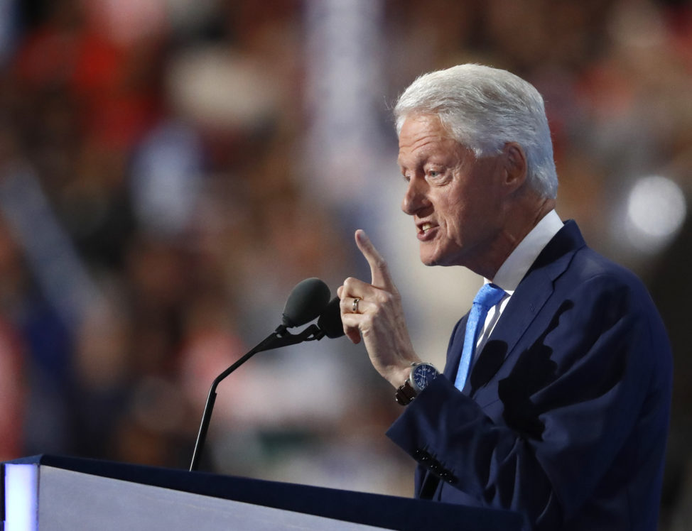 Former President Bill Clinton speaks during the second day of the Democratic National Convention in Philadelphia , Tuesday, July 26, 2016. (AP)