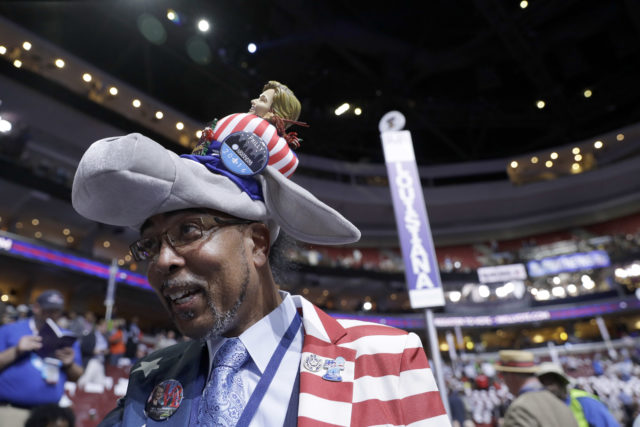 Delegate Rodney McFarland from Monroe, Louisiana, arrives at the Wells Fargo Arena before the start of the first day session of the Democratic National Convention in Philadelphia, Monday, July 25, 2016. (AP)