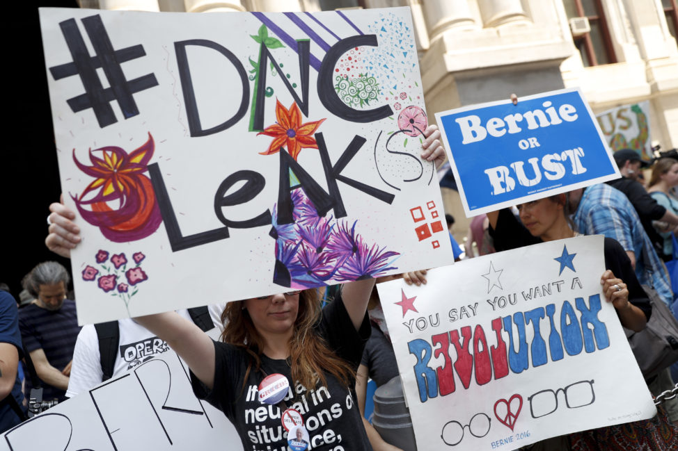 Demonstrators make their way around downtown, Monday, July 25, 2016, in Philadelphia, during the first day of the Democratic National Convention. On Sunday, Debbie Wasserman Schultz, D-Fla., announced she would step down as DNC chairwoman at the end of the party's convention, after some of the 19,000 emails, presumably stolen from the DNC by hackers, were posted to the website Wikileaks. (AP)