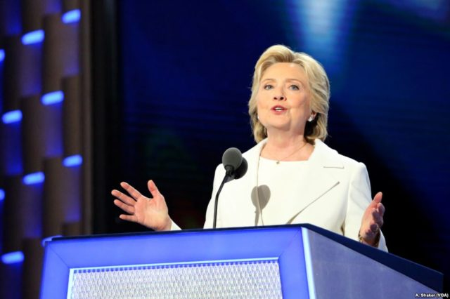 Hillary Clinton formally accepts the Democratic Party's nomination for president on the fourth night of the Democratic National Convention in Philadelphia, July 28, 2016. (Ali Shaker/VOA)