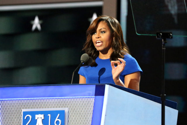 Among the opening night speakers was First Lady Michelle Obama, who urged Democrats to support Hillary Clinton at the Democratic National Convention in Philadelphia (A. Shaker/VOA)