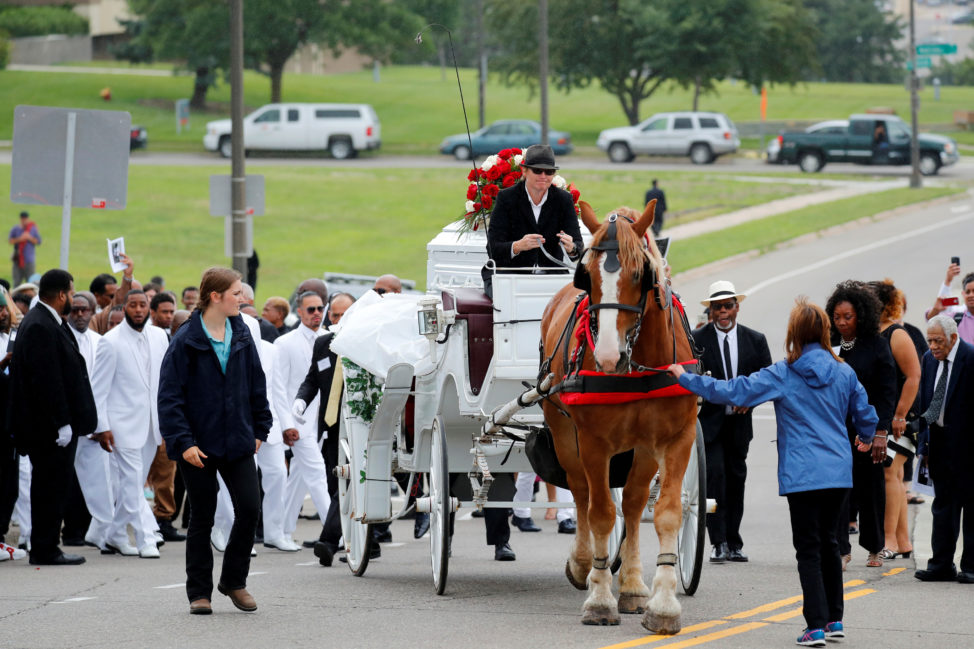 The funeral procession for Philando Castile travels from the St Paul Cathedral in St Paul, Minnesota, U.S. July 14, 2016.  (Reuters)
