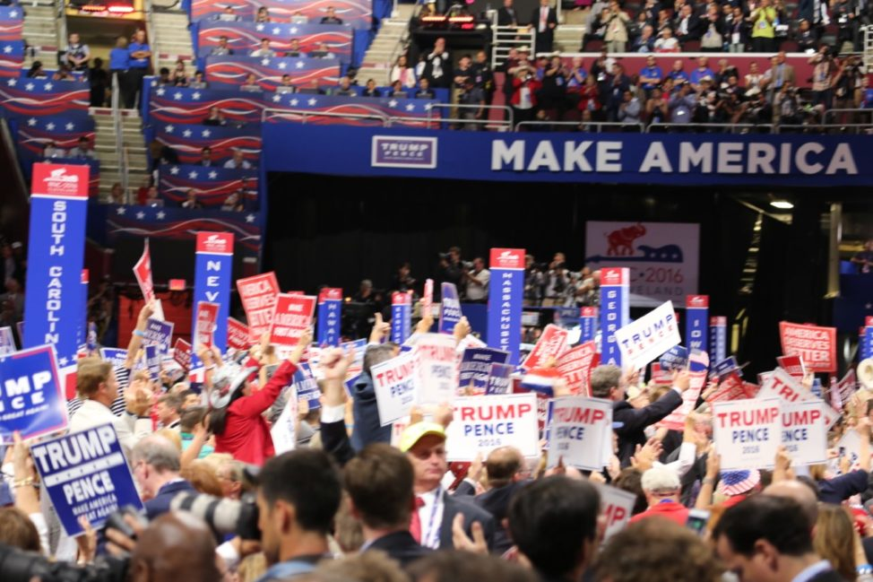 "A view of the Republican National Convention floor on day three highlighting the theme ""Make America First Again"" in Clevelend, Ohio, July 20, 2016. (Photo: A. Shaker / VOA)"