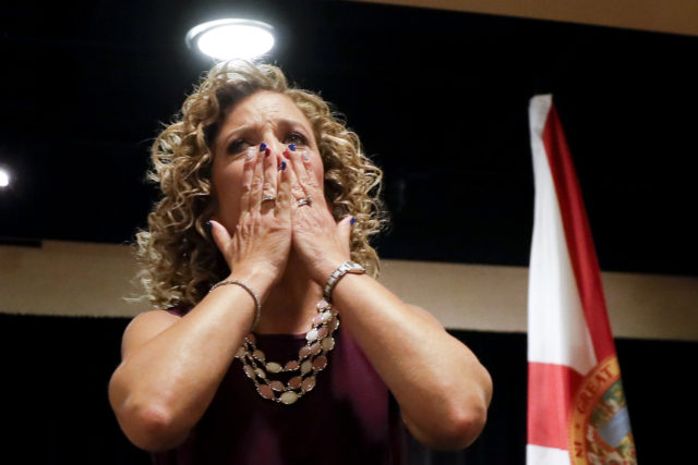 DNC Chairwoman, Debbie Wasserman Schultz, D-Fla., greeted the Florida delegation at a breakfast, Monday, July 25, 2016, in Philadelphia, during the first day of the Democratic National Convention. She has resigned amid a controversy over the hacking and subsequent leaking of emails embarrassing to the DNC.   (AP)