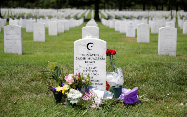 The grave of Army Captain Humayun Khan lies at Arlington National Cemetery in Arlington, Virginia, U.S., August 1, 2016. (Reuters)