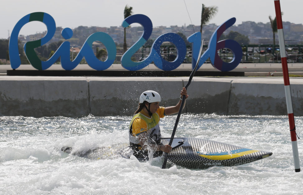 Jessica Fox of Australia trains for the canoe slalom competition at the Rio Olympics. Fox won a silver medal at the 2012 London Olympics. August 2, 2016 (Reuters)