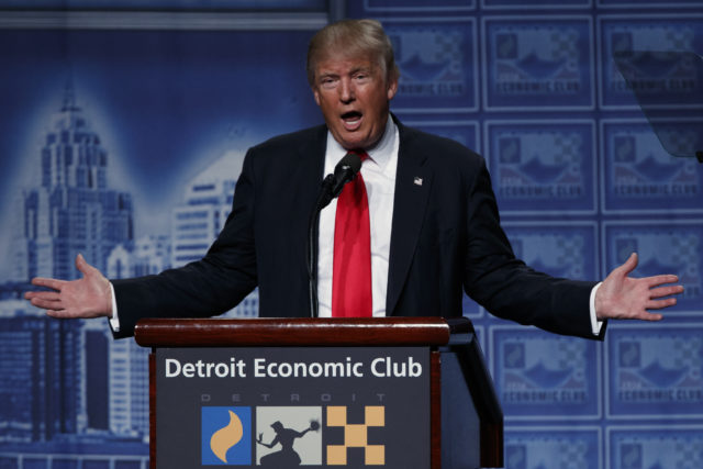 Republican presidential candidate Donald Trump delivers an economic policy speech to the Detroit Economic Club, Monday, Aug. 8, 2016, in Detroit. (AP)