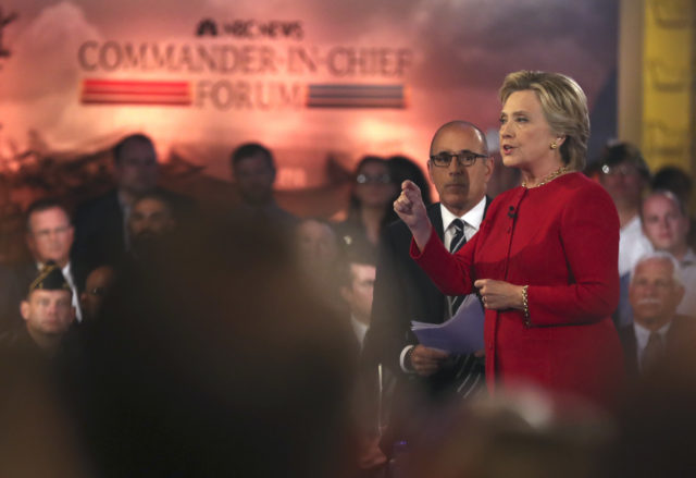 "Democratic presidential candidate Hillary Clinton speaks during a ""commander in chief forum"" hosted by NBC in New York on Sept. 7, 2016. (AP)"