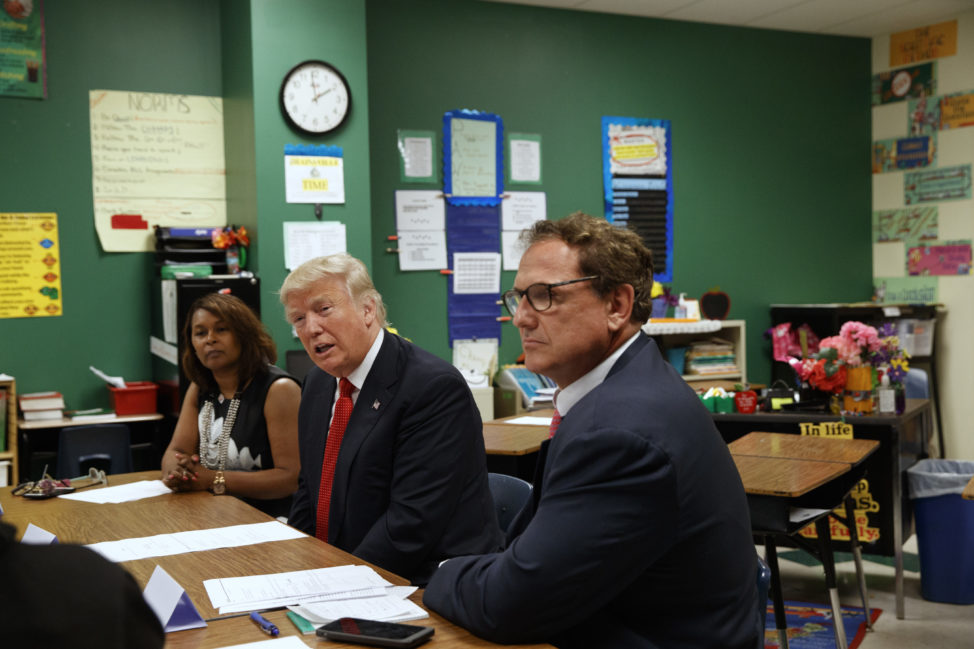 Republican presidential candidate Donald Trump meets with students and educators before speaking about school choice, Sept. 8, 2016, at Cleveland Arts and Social Sciences Academy in Cleveland. (AP)