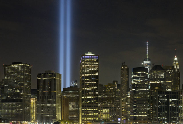 The Tribute in Light rises above the lower Manhattan skyline, Sept. 10, 2016, in New York. Sunday marked the fifteenth anniversary of the terrorist attacks of Sept. 11, 2001 on the United States. (AP)