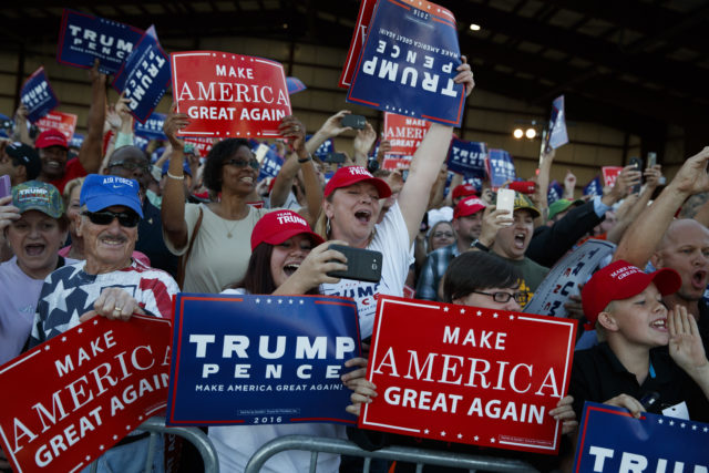 Supporters of Republican presidential candidate Donald Trump cheer as he arrives to a campaign rally, Sept. 17, 2016, in Colorado Springs, Colo. (AP)