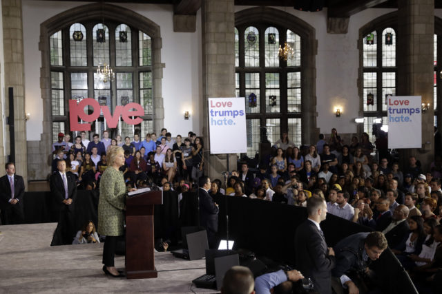 Democratic presidential candidate Hillary Clinton speaks during a campaign stop at Temple University in Philadelphia, Sept. 19, 2016. (AP)